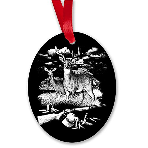 Oval Ornament (2-Sided) Deer Hunting Buck Doe Rifle and Hat