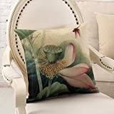 Modern Chinese pillow/Round chair cushion lumbar pillow/Retro lotus queen bed pillow/coat/Containing core-C 63x63cm(25x25inch)versionA