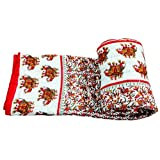 Vihaan Impex Exclusive Indian Jaipuri Quilt With Authentic Sanganeri Print Cotton Filling & Double Bed Size White...