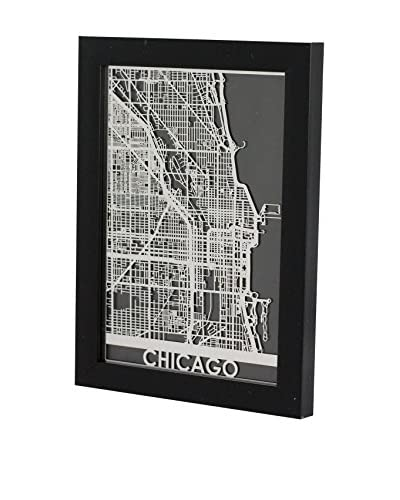 Cut Maps Framed Stainless Steel Chicago Map