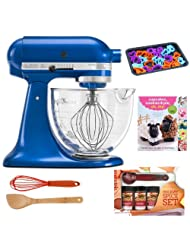 KitchenAid KSM155GBEB Artisan Design Series 5-Quart Tilt-Head Stand Mixer with Glass Bowl in Electric Blue + Kamenstein Mini Measuring... by aSavings