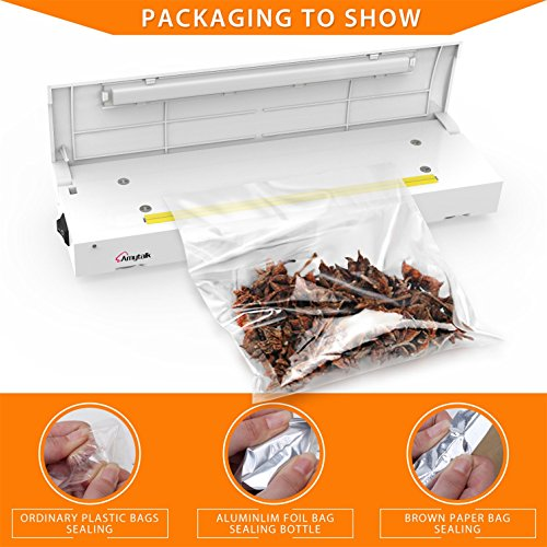 Amytalk Bag Heat Sealer - Family Mini Sealing Machine Food Saver for Plastic Bags Mylar Bag Package Creates Airtight Containers Kitchen Reseals Mylar and Cereal Bags for Airtight Seal (Package Shrink Wrap compare prices)