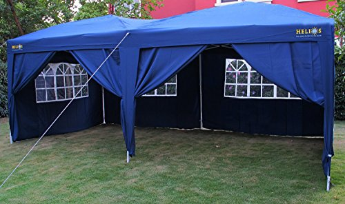 Helios 6 x 3m Pop Up Gazebo Marquee Fully Waterproof Includes 6 Side Panels Strong Oxford Bag - Green