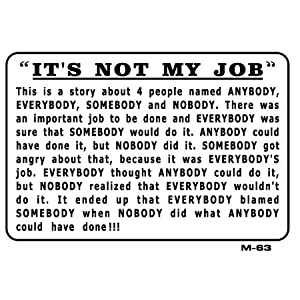 IT'S NOT MY JOB 7x10 Plastic Sign