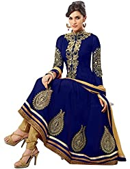 Surat Tex Blue & Gold Color Party Wear Embroidered Georgette Semi-Stitched Anarkali Suit-I18DL73