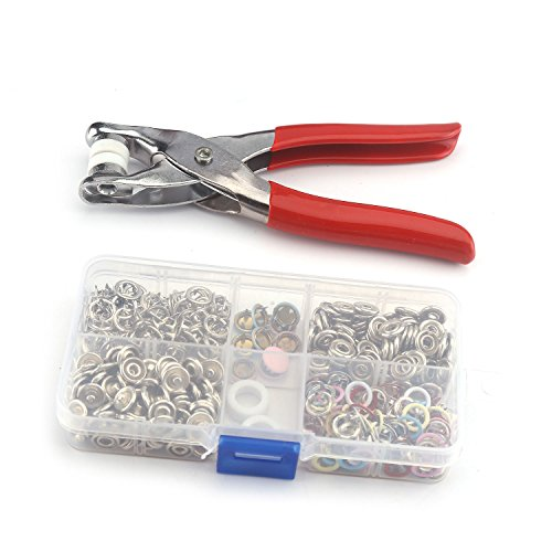 Professional Repair Kits Crafts Clothes Novelty ( 100Pcs 9.5mm Colorful Prong Ring +10Pcs Snap Buttons +1Piler set ) DIY Metal No Sewing Press Studs Poppers Buttons Snap Fastener Tool (Clothing Snap Repair Kit compare prices)