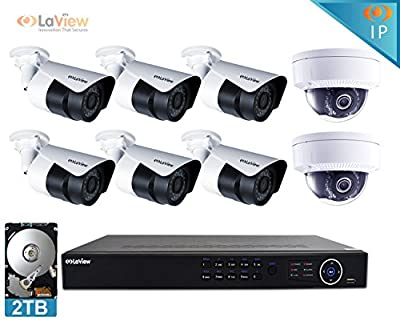 LaView 1080P IP 8 Camera Security System, 8 Channel IP PoE HDMI NVR (Resolution 1080p - 6MP) w/2TB HDD 2 Dome & 6 Bullet Hi-Res 2MP White Surveillance Camera Kit