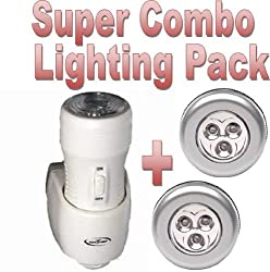 "** Super Combo Pack... a Safe T Light 3-in-1 Rechargeable Torch, Automatic Night Light & Emergency Power Cut Light - PLUS - X2 Stick n Click LED Bright Lights - Click Push On Off Light ... Safe T Light as seen on BBC's ""Dragons Den"" from safe t light"