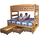 Bunk Bed Plan Stackable Twin over Full Bunk with Three Large Storage Drawers and Hardware Kit (for Bunk and Three Drawers)