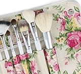 Fashion Century Lady - Professional 12 Pcs Makeup Brush Cosmetics Goat Hair Brushes Set Kits with Rose Pattern Case
