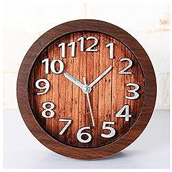 Retro Europe Style Wood Pattern Silent Non-ticking Desk Wall Clock Desktop Clock (Mahogany color)