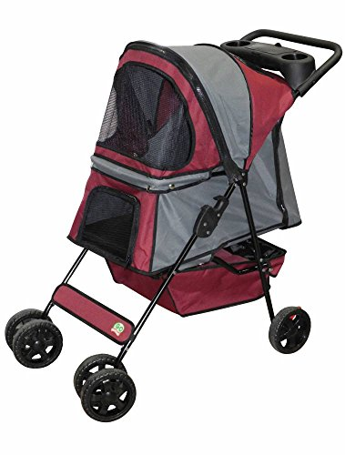 Gopetclub Pet Dog Cat Stroller (Maroon/Silver Ps004) front-735115