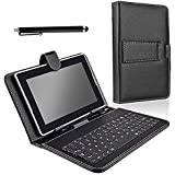 SQdeal® PU synthetic Leather Stand black keyboard Case Cover For 7 inch Google Andorid tablet PC