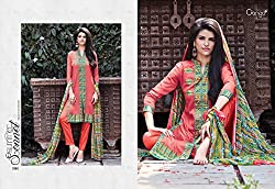 Ganga Fashions Crimson Printed Cotton Silk Fabric Designer Salwar Kameez GE-7002-Summer Sonnet