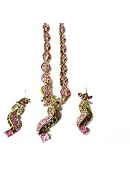 Sneh Floral Designed Pink & Golden Necklace Set For Women
