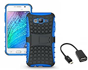 Mobicrafft Tough Hybrid Back Cover Case with Kickstand for Samsung Galaxy On7 Pro (Blue) + Micro USB OTG Cable
