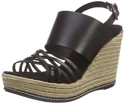 Fred de la BretoniereFred luxury sandalet small cross straps new 10.5cm wedge rope covered Mallorca - Sandali a Punta Aperta Donna , Nero (Nero (nero)), 37