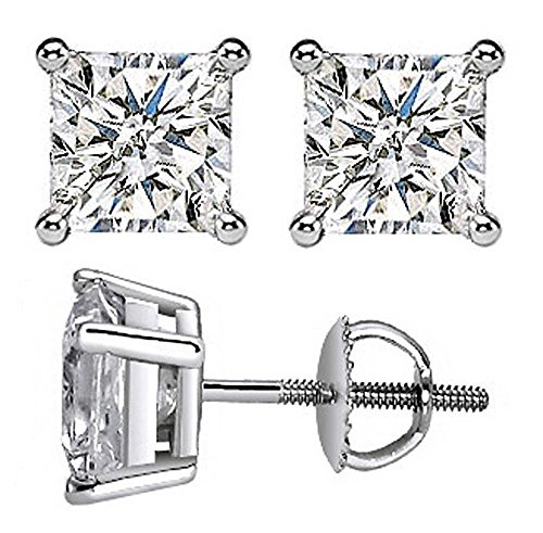 0.34 Ct Tw Princess Cut Diamond Screw-Back Stud Earrings In 14K White Gold