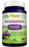 100% Pure Resveratrol - 1000mg Max Strength (180 Capsules ) Antioxidant Supplement Extract from Red Grape Skin Seed & Wine, High Potency Natural Trans-Resveratrol Pills for Heart Health & Weight Loss