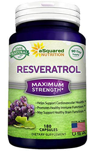 100% Pure Resveratrol - 1000mg Per Serving Max Strength (180 Capsules) Antioxidant Supplement Extract, Natural Trans-Resveratrol Pills for Heart Health & Weight Loss, Trans Resveratrol for Anti-Aging (Natural Organic Grapeseed Extract compare prices)