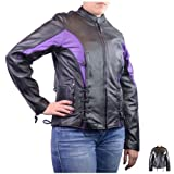 Detour Vented Leather Motorcycle Jacket 8312 For Women XL Purple by NYC Leather Factory Outlet