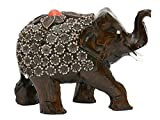Premium Giftz Handmade Wooden Elephant Figurine with Resin Leaves 3 Inch Tall