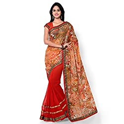 Sarvagny Clothings Multi Color Georgette & Net Fashion Saree (LAXMI-FENTA-PRINT)