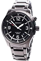 Seiko Kinetic Black Dial Stainless Steel Mens Watch SKA687