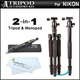 2-in-1 Professional 72 ALL IN 1 Tripod Monopod Kit For Nikon Coolpix P610 P600 P530 P510 P520 L120 L610 L820 B500 P7700 P7800 Nikon 1 J4 Nikon 1 S2 Nikon 1 J2 Nikon 1 J1 Nikon 1 V1 L340 L830 L840 Digital Camera + Lens Pen Kit + More