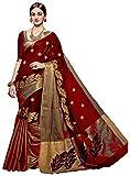 #8: Vatsla Women's Heavy Cotton Embroidered Saree With Blouse Piece (VMRNHNSCTN_Maroon_Golden)