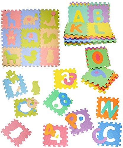 Set: Mossgummi - Puzzle Teppich - 10 Matten & Zahlen von 0 - 9 - zum puzzeln / Puzzleteppich EVA - Spielmatte Kinderteppich - Spieleteppich Puzzlematte - Bodenmatte - Matte / Spielteppich - für Kinder - Puzzleteppich - Kinderspielteppich / Lernteppich - Schaumstoff / Bodenschutzmatte - Zahl Rechnen lernen