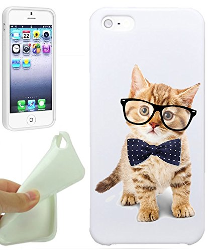 Cute Kitten Glass Bows Hipster Love Animal Cool Funny Girls Teens IPhone 5 / iPhone 5S Case Cover By NickyPrints. UNIQUE Designer Gloss Candy TPU Flexible Slim Case for iPhone 5 5S (Cool Animal Iphone 5 Cases compare prices)