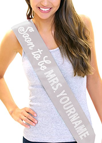 Soon To Be Mrs with Custom Last Name Women's Rhinestone Sash Silver (Custom Bride To Be Sash compare prices)