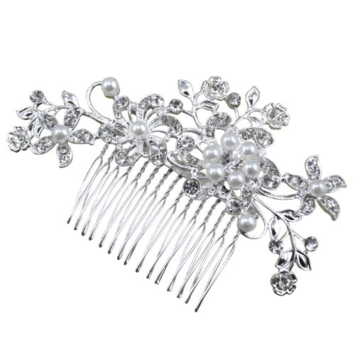 Leegoal Bridal Wedding Jewelry Crystal Rhinestone Pearl Flowers Hair Comb Pin Silver