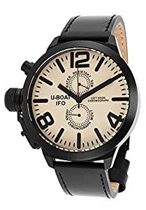 U-Boat Men's Left Hook IFO Limited Edition Chronograph Black Genuine Leather Beige Dial