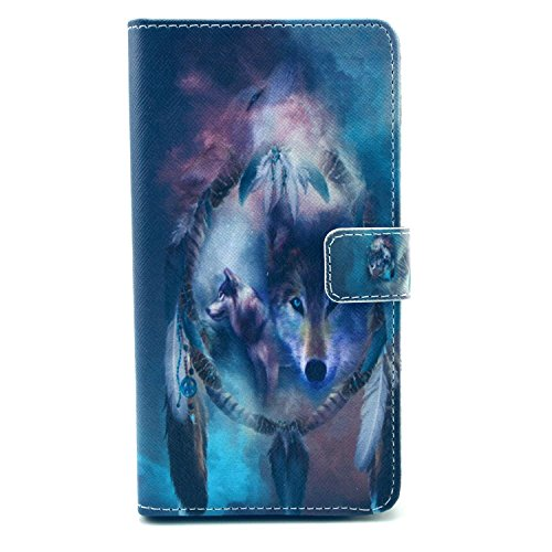 Galaxy S4 Mini Case, Firefish PU Leather Case Wallet Flip Kickstand Case [Flap Closure] [Card Slots] Protective Cover for Samsung Galaxy S4 Mini + One Stylus-Wolf