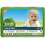 Seventh Generation Free and Clear, Unbleached Baby Diapers, Size 2, 180 Count, Packaging May Vary