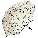 ゴシレ Gosear レディース 女子用傘 太陽 日傘 雨傘 晴雨兼用 折り畳み 軽量 晴雨兼用 遮光 遮熱 ソリッド カラー 卵色