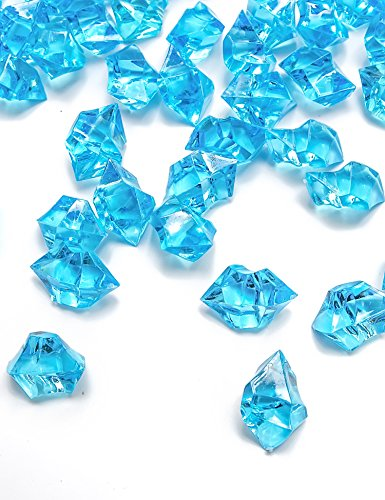 DomeStar 150 PCS Acrylic Clear Ice Rock Cubes, Crystals Treasure Gems, Blue (Plastic Blue Gems compare prices)