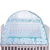 ベビー蚊帳 通気性 蚊や虫の侵入を防ぎ 真夏の夜も安眠 蚊帳 カヤ ベビー用品 可愛い 折畳み 高品質 組立式 虫除け (ブルー) ランキングお取り寄せ