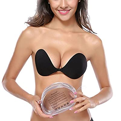 Wingslove® Resuable Strapless Backless Self Adhesive Invisible Push-up Wing Bra Breast Pad with Portable Travel Bag