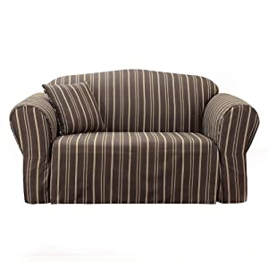 Sure Fit Colton Stripe Sofa Slipcover - Brown (Sofa)