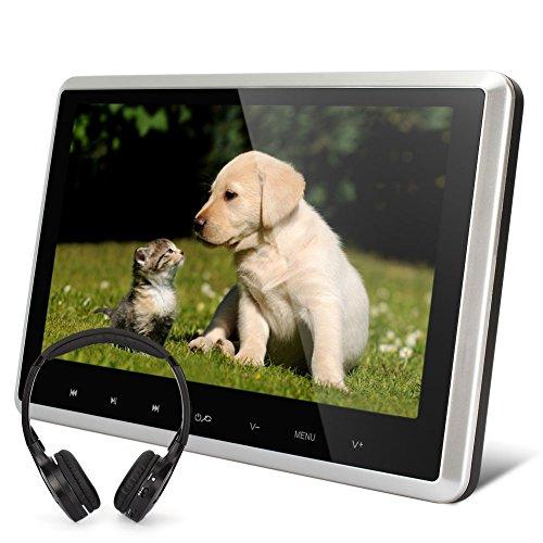 NAVISKAUTO-101-HD-Kopfsttzenmonitor-Kopfsttze-Auto-DVD-Player-Monitor-Touch-Taste-Ultra-Dnn-TFT-LCD-Bildschirm-FM-Untersttzt-1080P-30Fps-Video-HDMI-Funktion-USB-SD-Games-Fernbedienung-SchwarzSilber-Ra