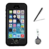 Newest Fingerprint Scanner Waterproof Shockproof Full Case Cover Bundle with Retractable Reel and Touch Pen for Apple Iphone 5 5S (Black)