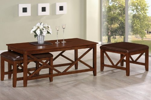 3pcs Coffee Table with Two Ottomans in Espresso Finish