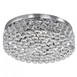 Monza 4-Light Halogen Chrome Crystal Flush Ceiling Light, 8114-4CC