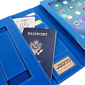 Snugg™ iPad 3 & 4 Case - Executive Smart Cover With Card Slots & Lifetime Guarantee (Electric Blue Leather) for Apple iPad 3 & 4