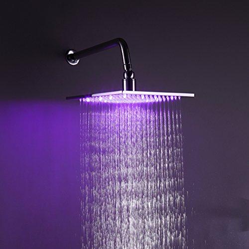 Ouku Chrome Finish Rectangular 3 Colors Led Bathroom Shower Head Lavatory Bath Shower Faucet Ceramic Valve Plumbing Fixtures