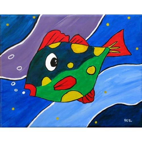 Original Fish Painting Nursery Decor Kids Room Wall Art Hand Painted Sea Life Artwork on Canvas, 8x10