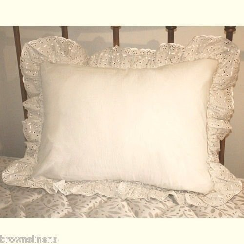 Lowest Prices! White Eyelet Ruffle Pillow Sham By Madison